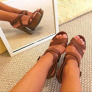 Brown Platform Heel Sandals